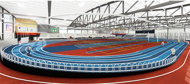 The indoor track at the Gately Park Track and Field Facility.