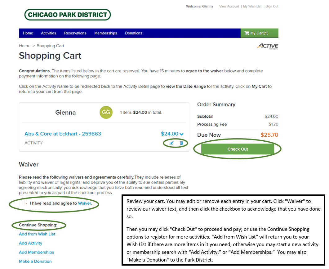 Program Registration Shopping Cart Screenshot