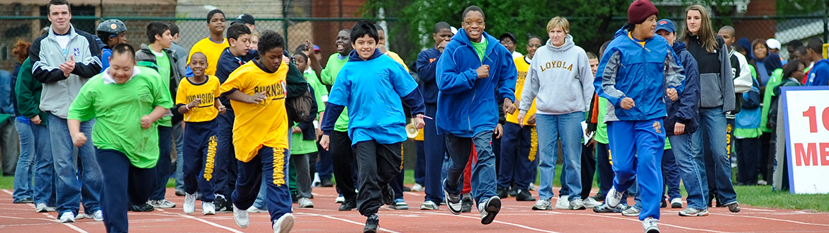 Athletes compete in a race at the annual Special Olympics Spring Games.