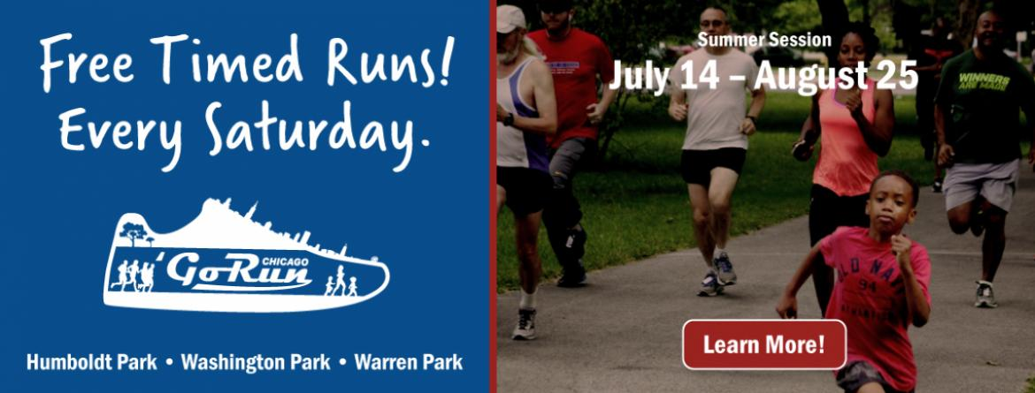 Go Run Chicago - Free timed runs Saturday mornings each season at Humboldt, Washington & Warren Parks