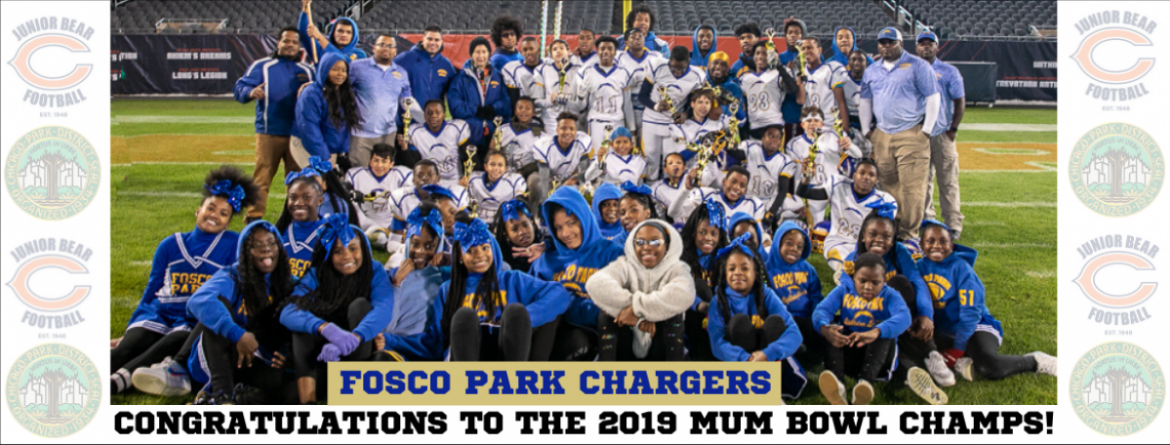 Fosco Park Chargers football team, coaches and cheerleaders gather for a photo at Soldier Field after winning the 2019 Mum Bowl.
