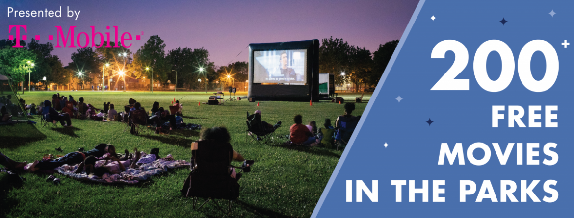 Enjoy Movies in the Parks this summer, presented by T-Mobile and part of Night Out in the Parks.