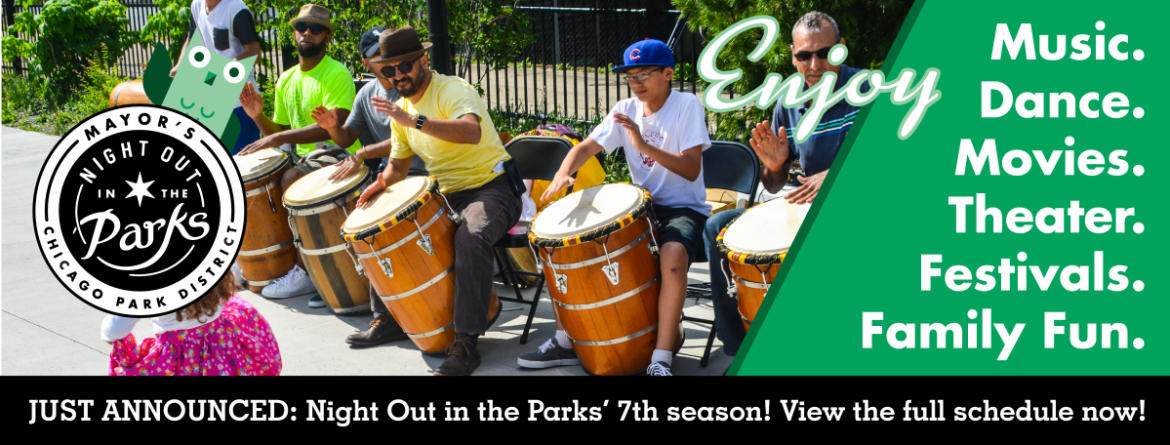 A group of drummers perform at a Night Out in the Parks event on a sunny afternoon in the parks.