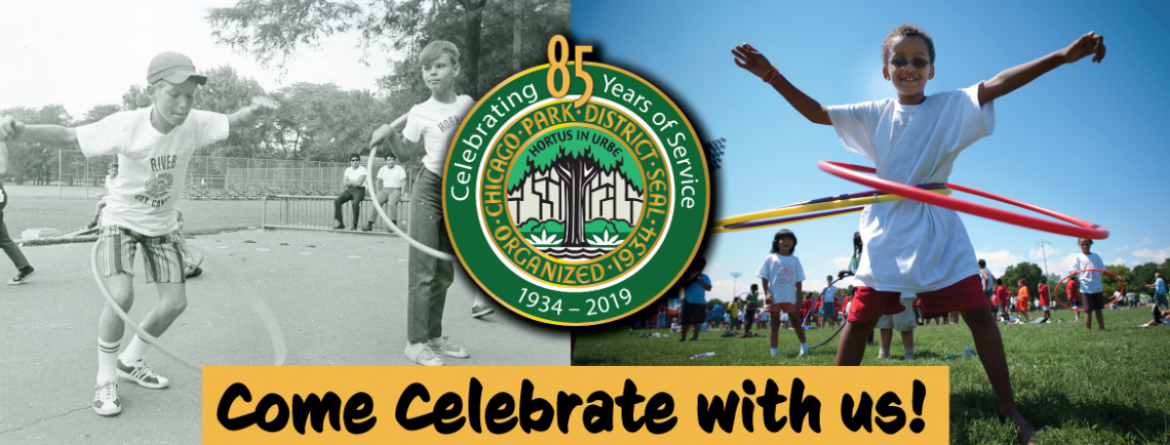 A historical photo of children hula-hooping in a park and a similar photo from the last few years, side by side.  In celebration of the Chicago Park District 85th Anniversary.