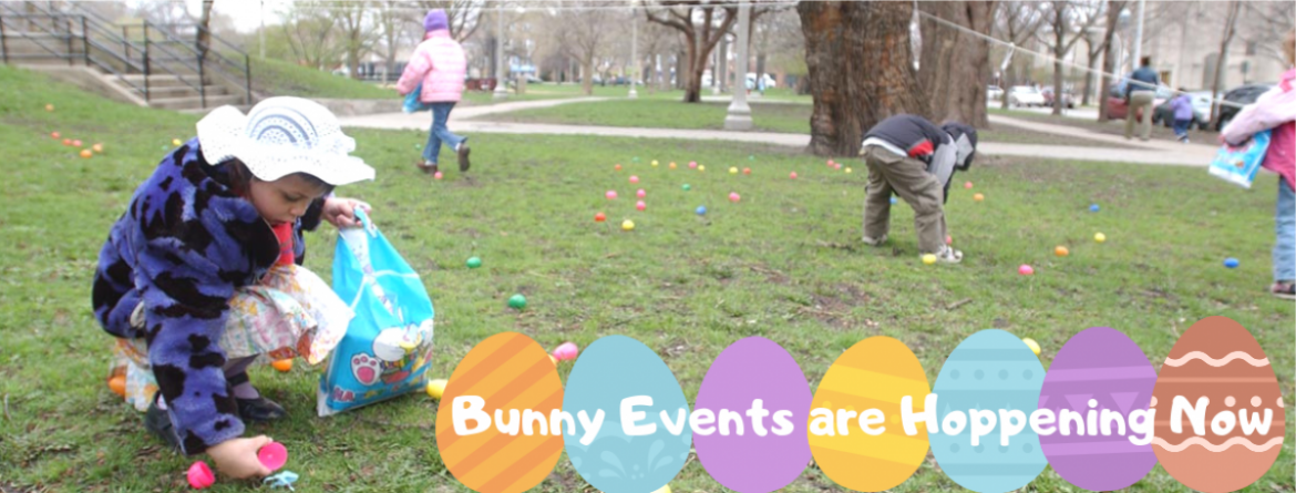 Children gather eggs at a Bunny event at Welles Park.