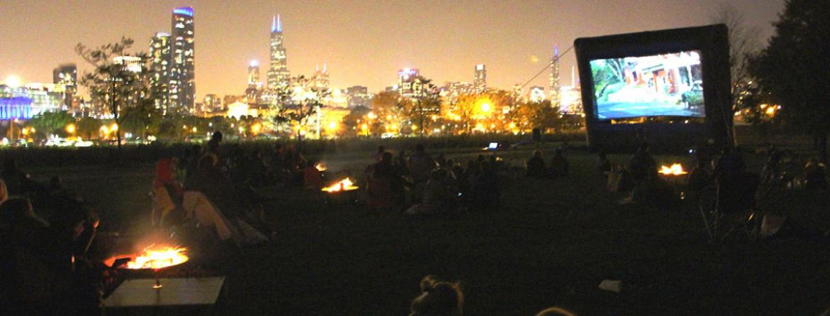 Many people enjoy bonfires and a scary movie at the Campfire Horrors event at Northerly Island.