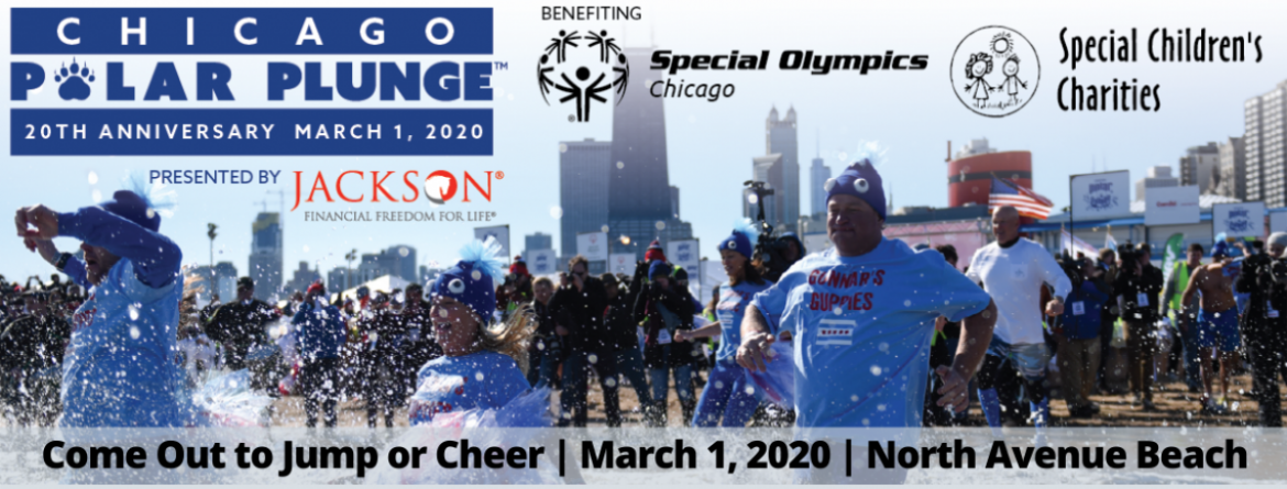 A team runs in to Lake Michigan to jump for the annual Polar Plunge which benefits Special Olympics Chicago and Special Children's Charities.