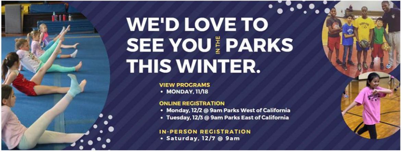 Online registration for most winter programs begins December 2 & 3.  Registration for gymnastics centers programs begins December 3 at noon.