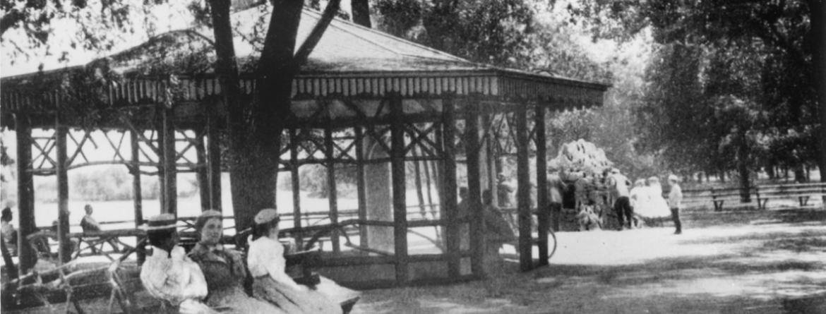 Historical photo of ladies and bikes in the parks