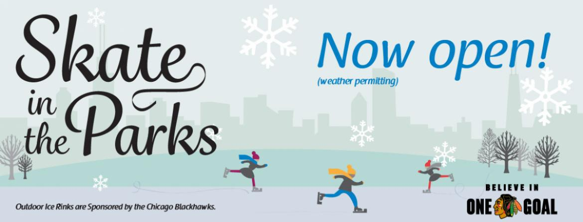 Come skate in the parks!  Most outdoor ice rinks are now open.