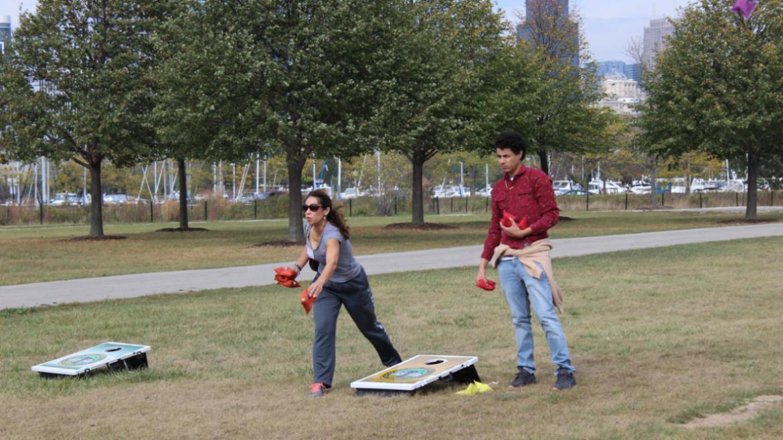 People enjoying outdoor games at the Volunteer Appreciation Event.