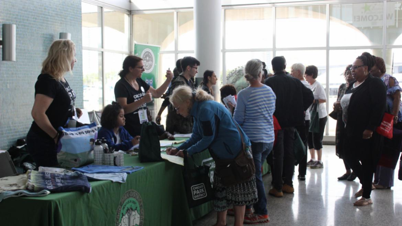 People registering at the Volunteer Appreciation Event.