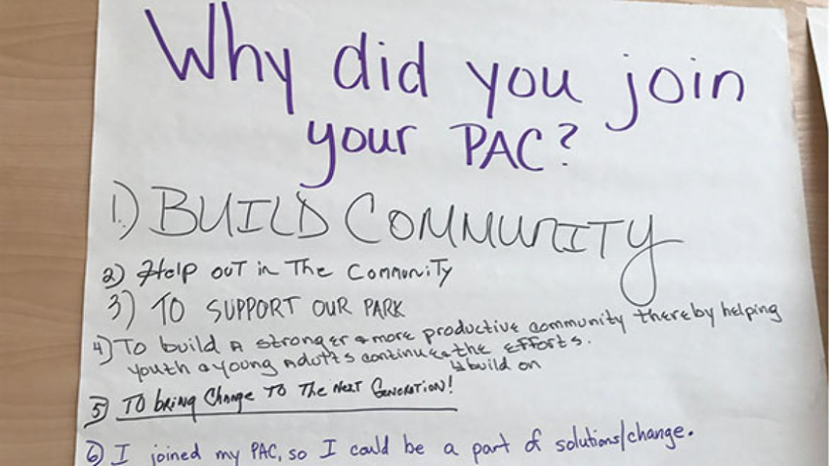 Group notes taken at an advisory council workshop.