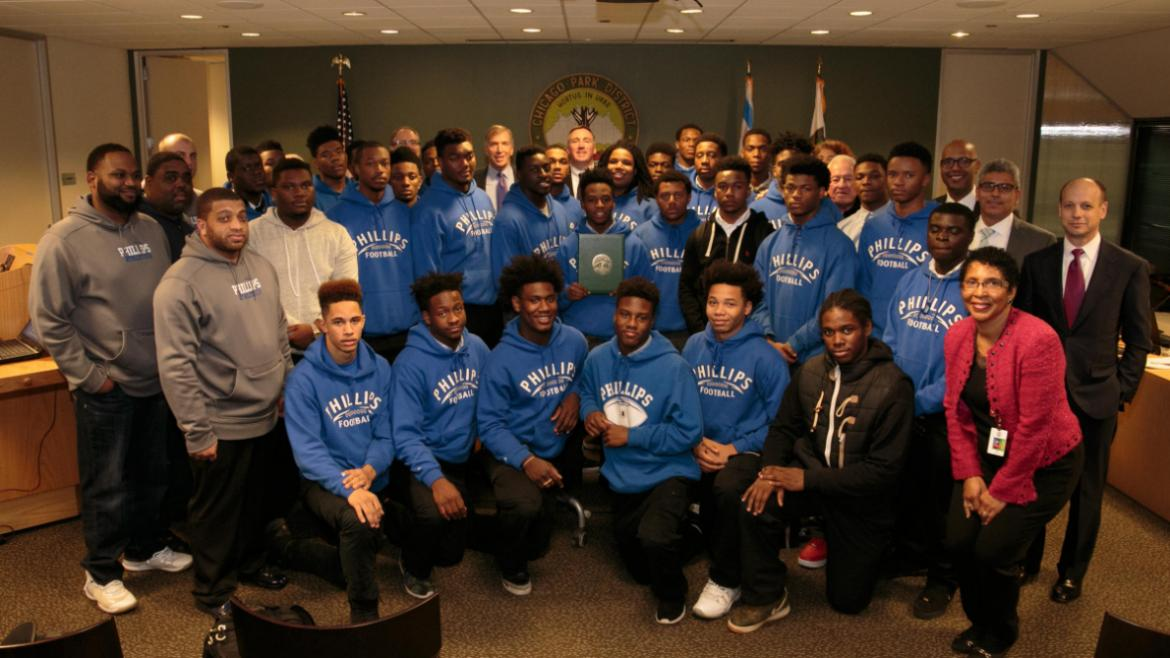 The Chicago Park District praises Wendell Phillips Academy's football team for their accomplishments