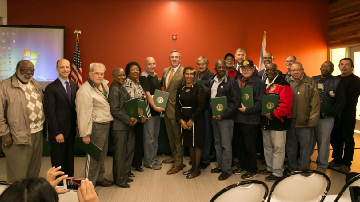 Chicago Park District Board of Commissioners and Michael P. Kelly with our 2015 retirees.