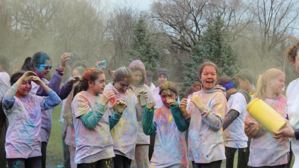 The teens drenched in color