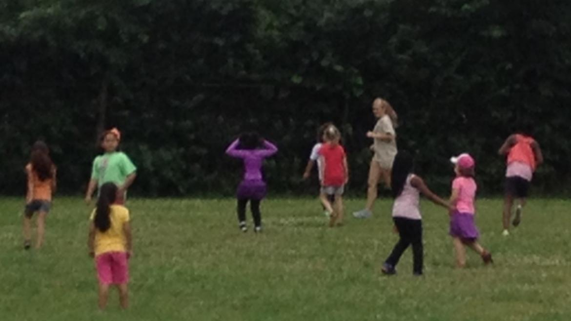 Campers playing name tag at Rutherford/Sayre Park.