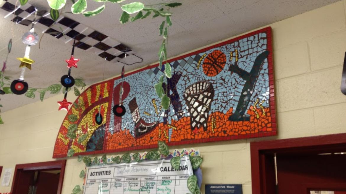 The mosaic in the Anderson Park field house lobby was created by a group of students