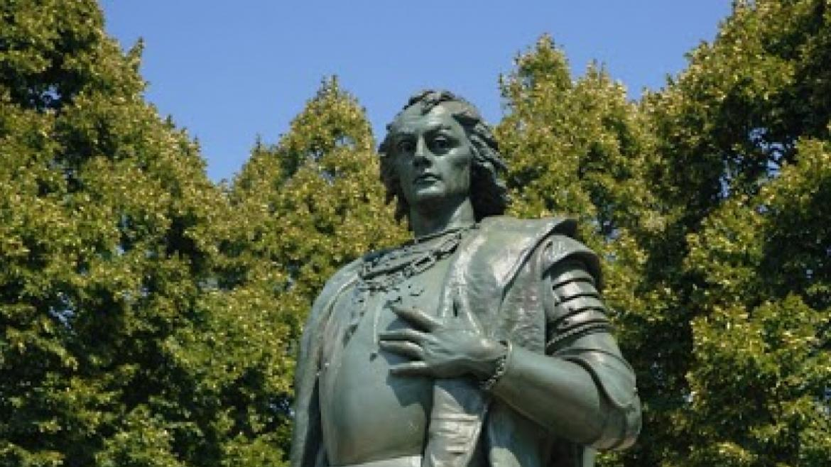 This close up view of the bronze Christopher Columbus sculpture