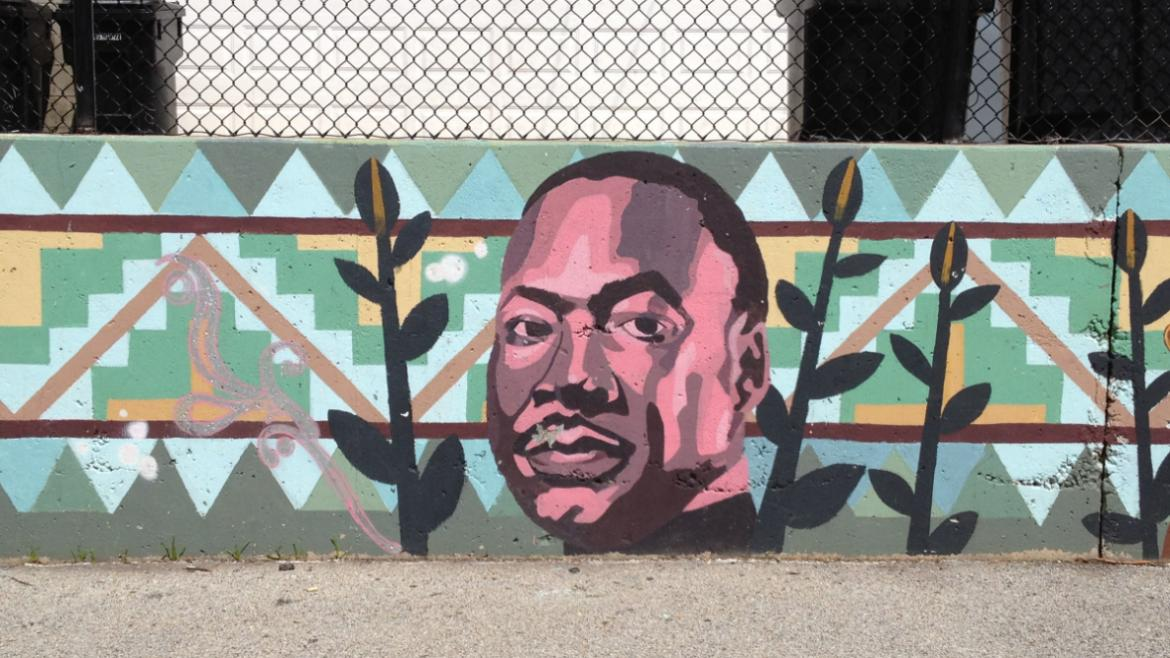 This depiction of Martin Luther King Jr. is one of the many faces illustrated in the mural, 2012.