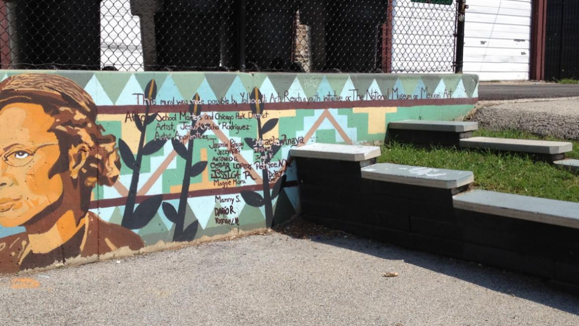 At the east end of the mural, the names of the sponsors, artists, and students who worked