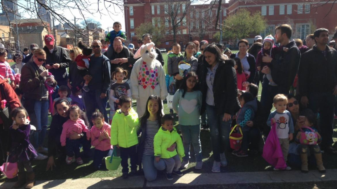 Getting ready for an Egg Hunt at Sheridan Park!