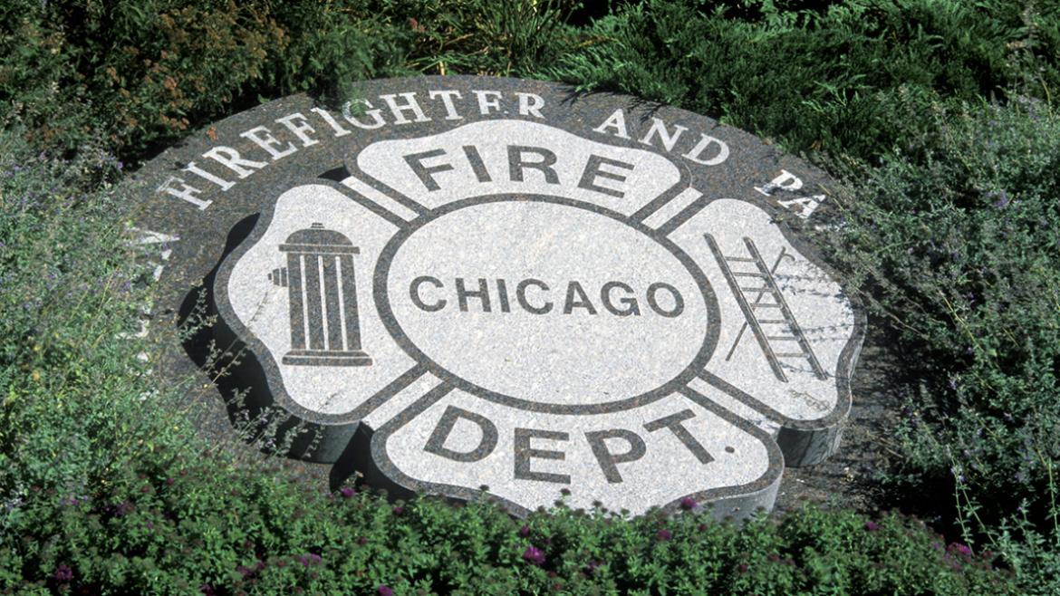 The memorial garden includes a granite marker that emulates the Chicago Fire Department.