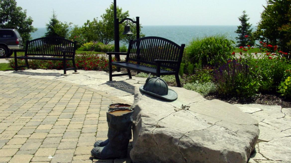 A flagpole, benches, and fireman's bell were incorporated into the memorial garden design, 2009.