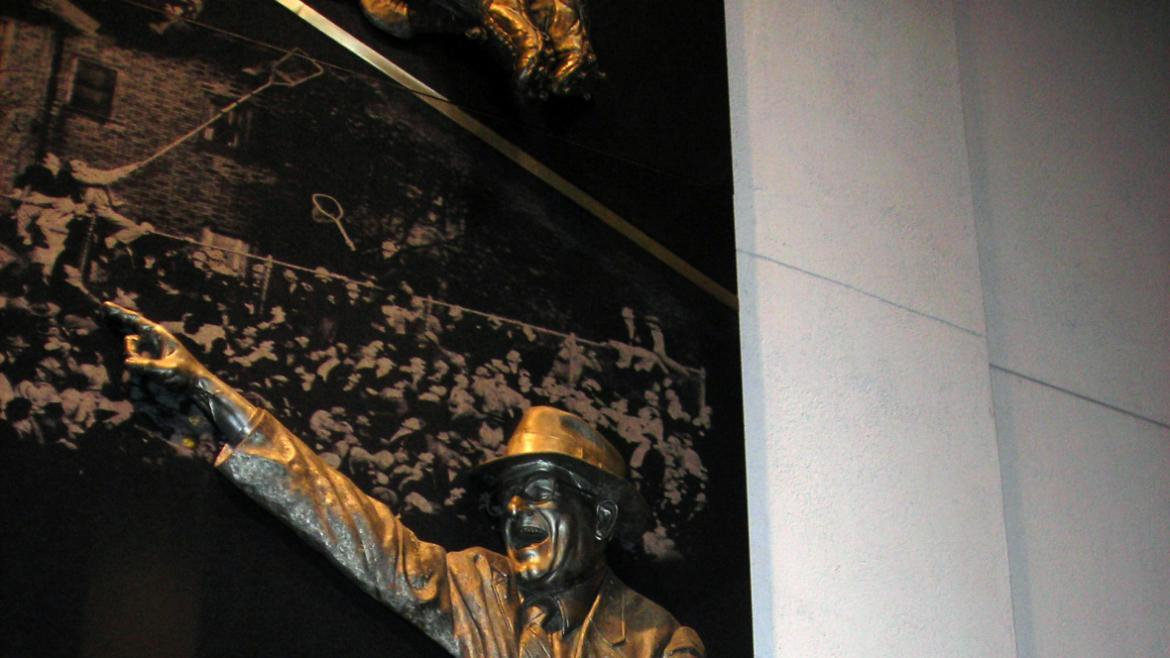 The Tribute to George Halas is mounted on a wall near Gate 15 in Soldier Field, 2010.