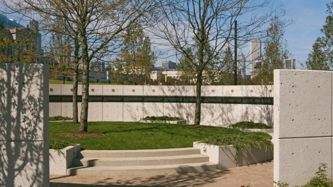 "The ""sacrifice space"" has a band of granite inscribed with the names of fallen police officers, 2010"
