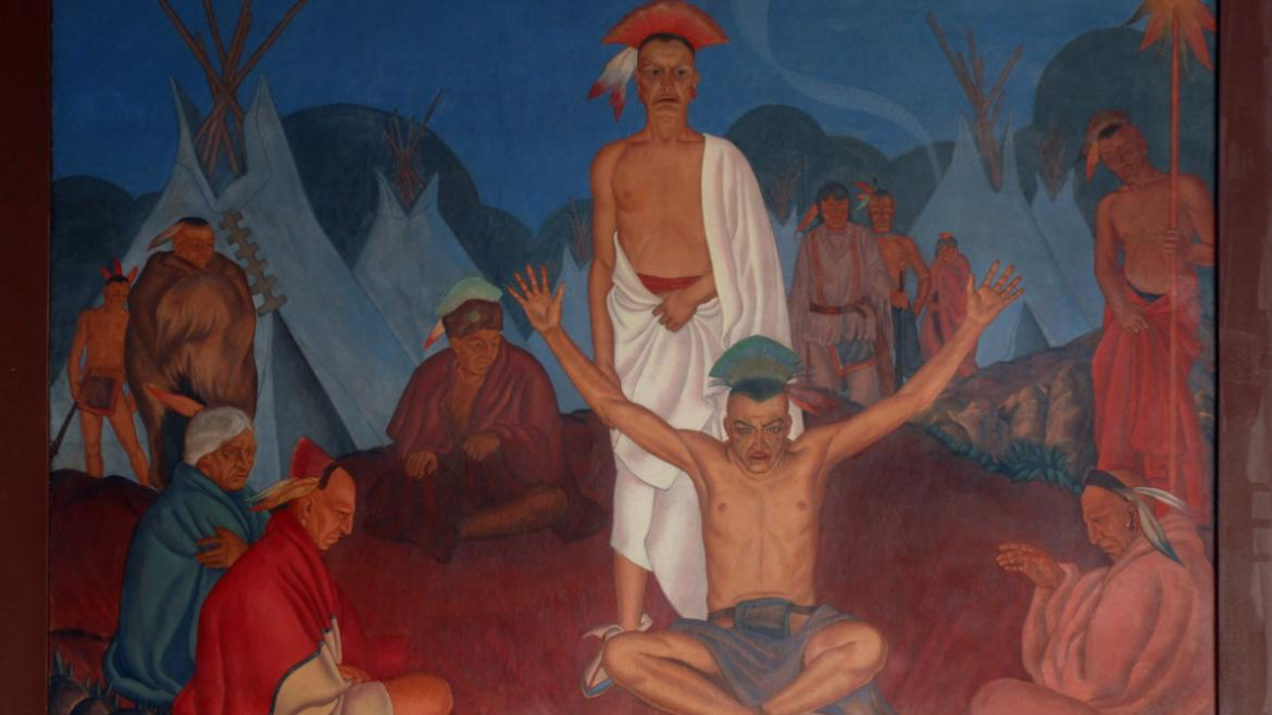 In the first mural, Native Americans gather around a fire, 2012, photo by James Iska.