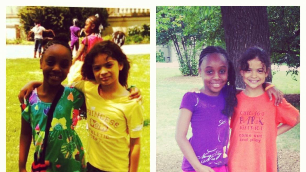 Best friends on the first and last days of summer camp at Garfield Park.