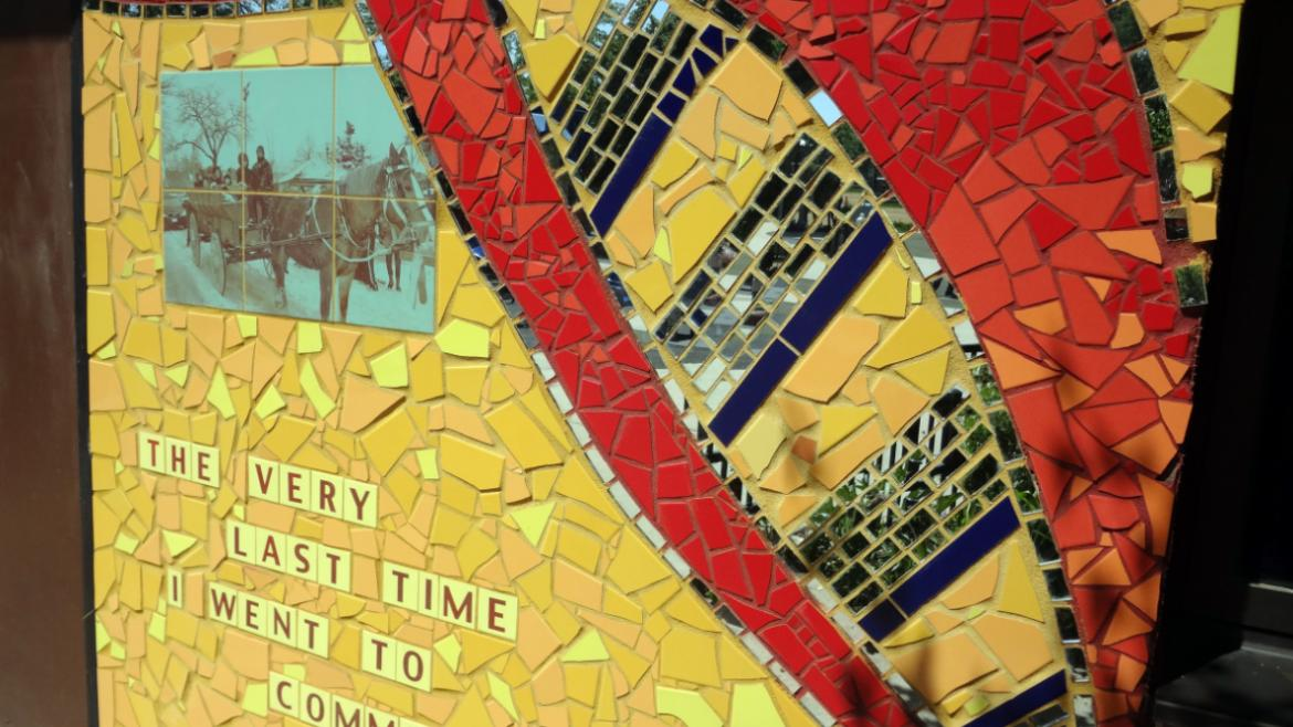 The bricolage mosaic incorporates vintage photographs depicting programs in the park.