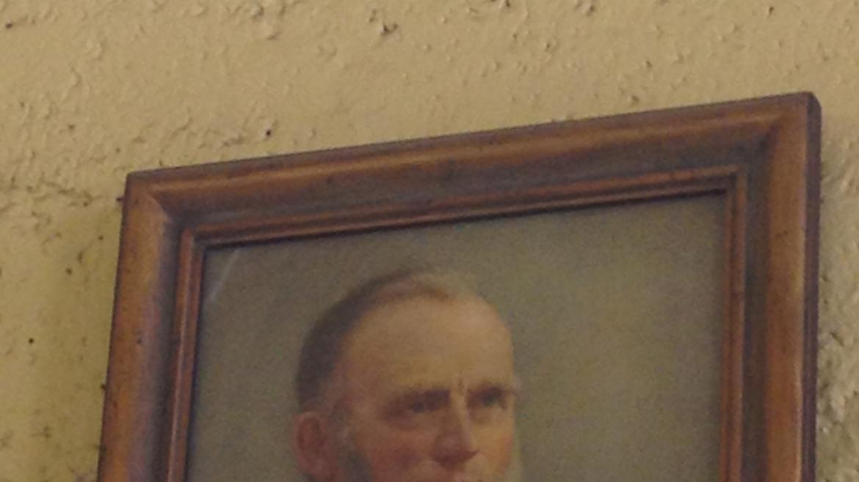 This painting portrays Ezra Cornell  (1807-1874) founder of Cornell University.