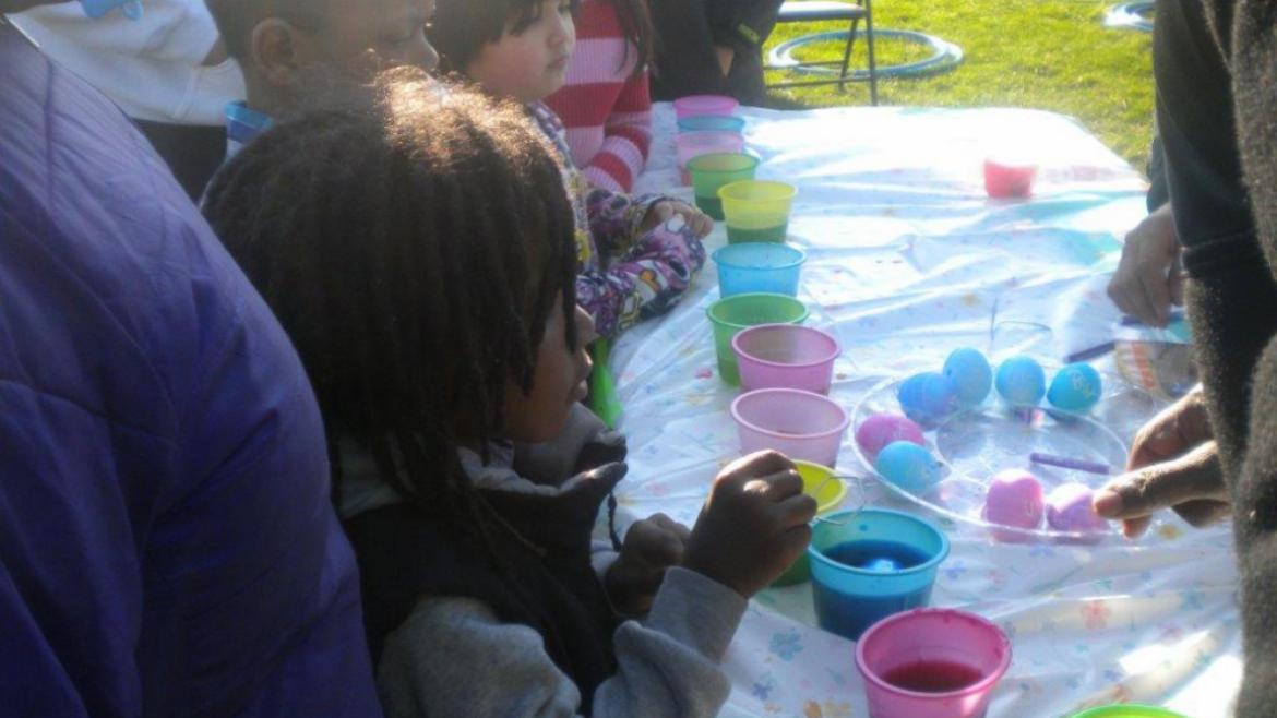 Kids at Kells love to color eggs
