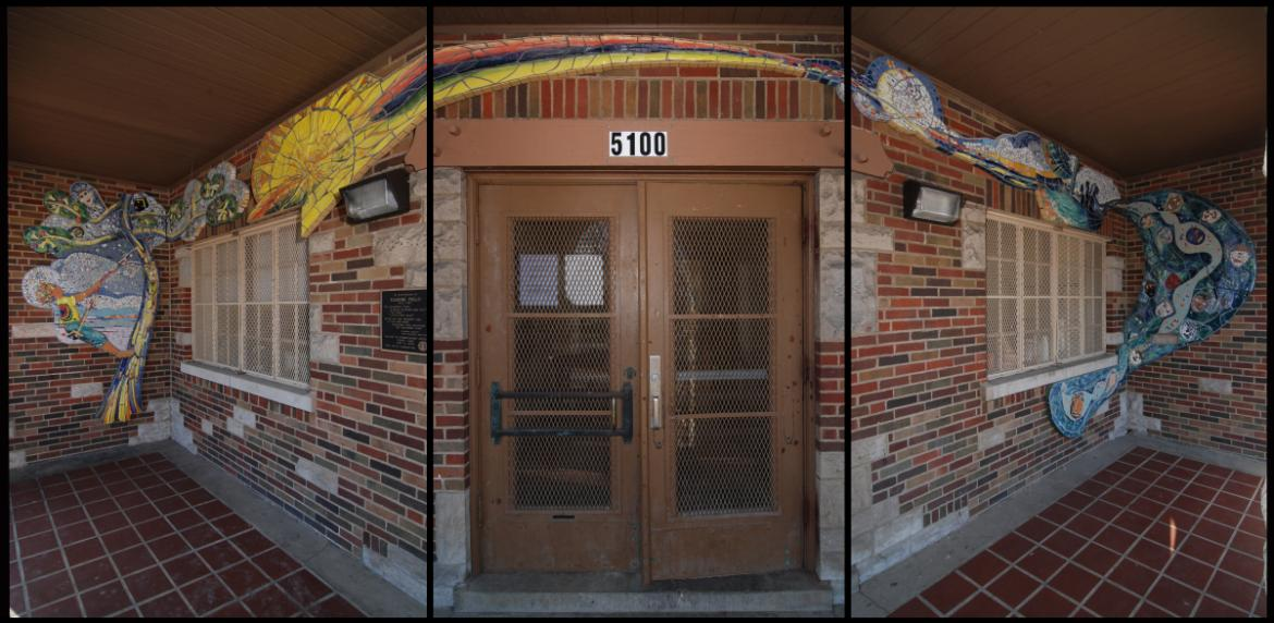 This triptych photograph shows has the 45-foot long mosaic wraps around the vestibule facades, 2012,