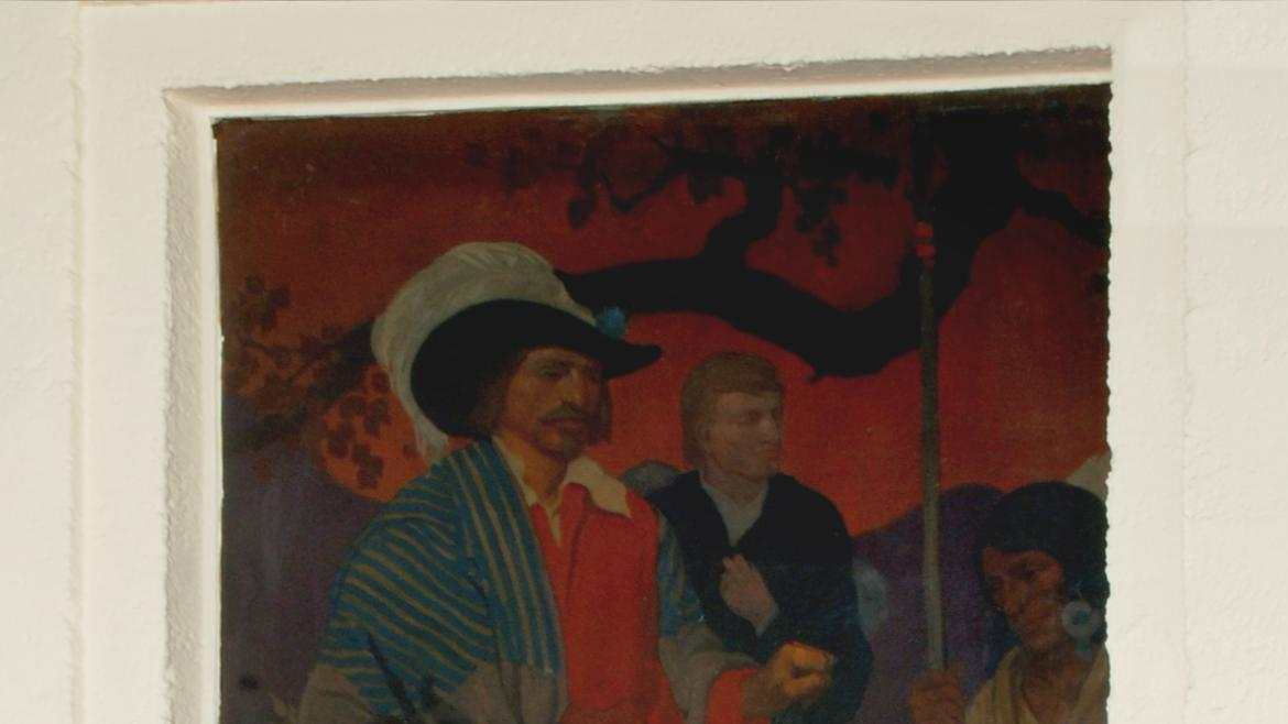 This panel features the French voyaguers such as Marquette and Jolliet who befriended Native America