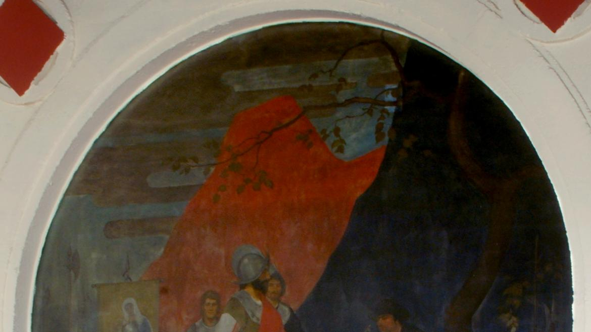 In this arched mural, Norton provides a detailed scene that shows the close relationship.