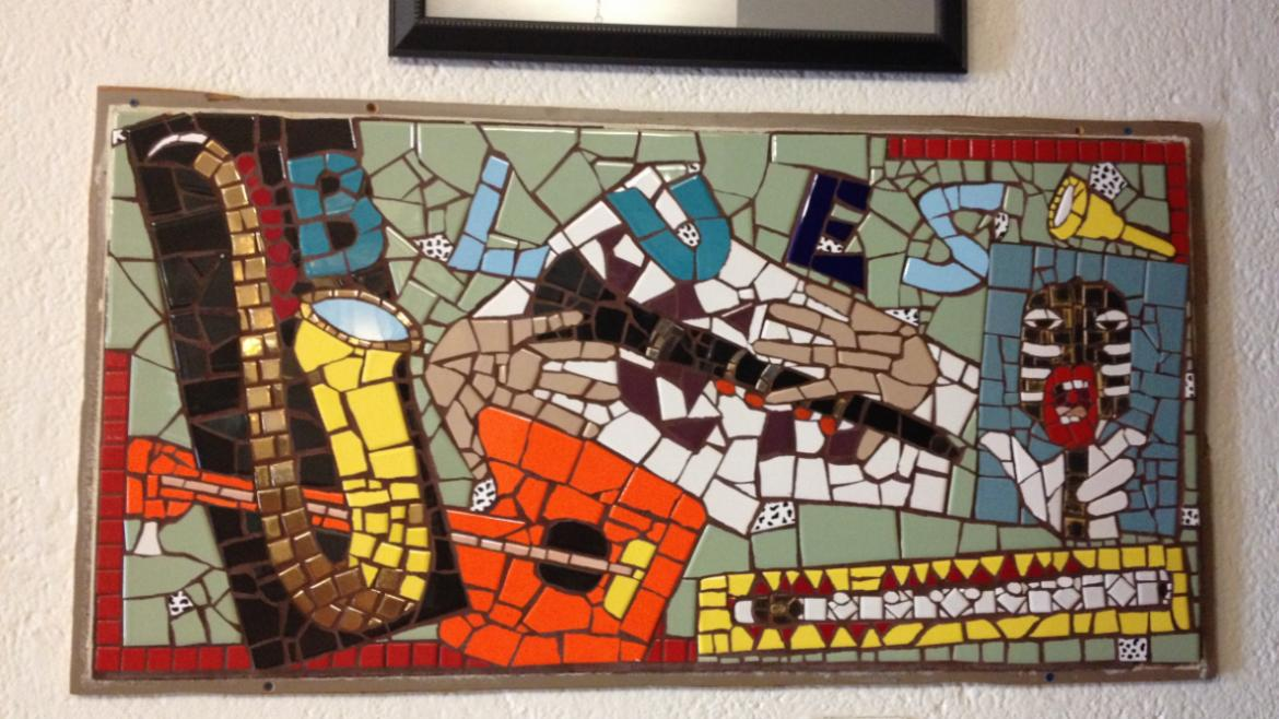 These broken tile mosaics celebrate Chicago's importance in the history of jazz and the blues, 2012.