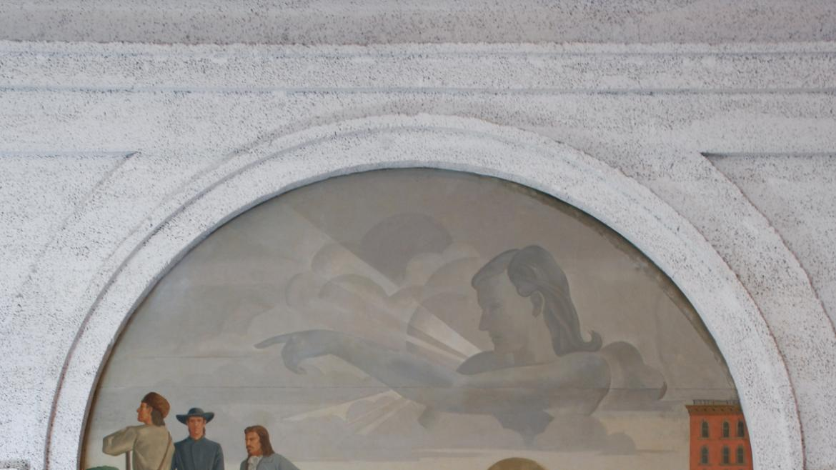 Muralist Tom Lea produced this highly detailed composition entitled Pioneers.