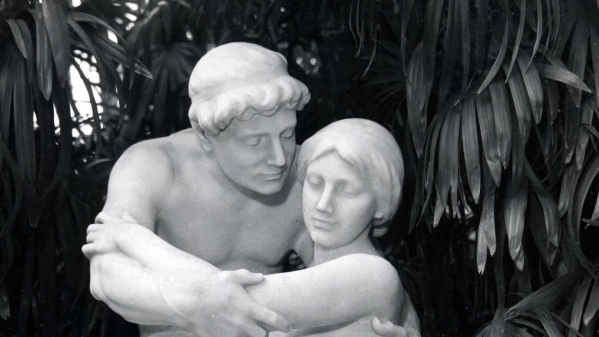 The Idyl sculptural group depicts a young couple embracing.  CPD Special Collections, ca. 1920.