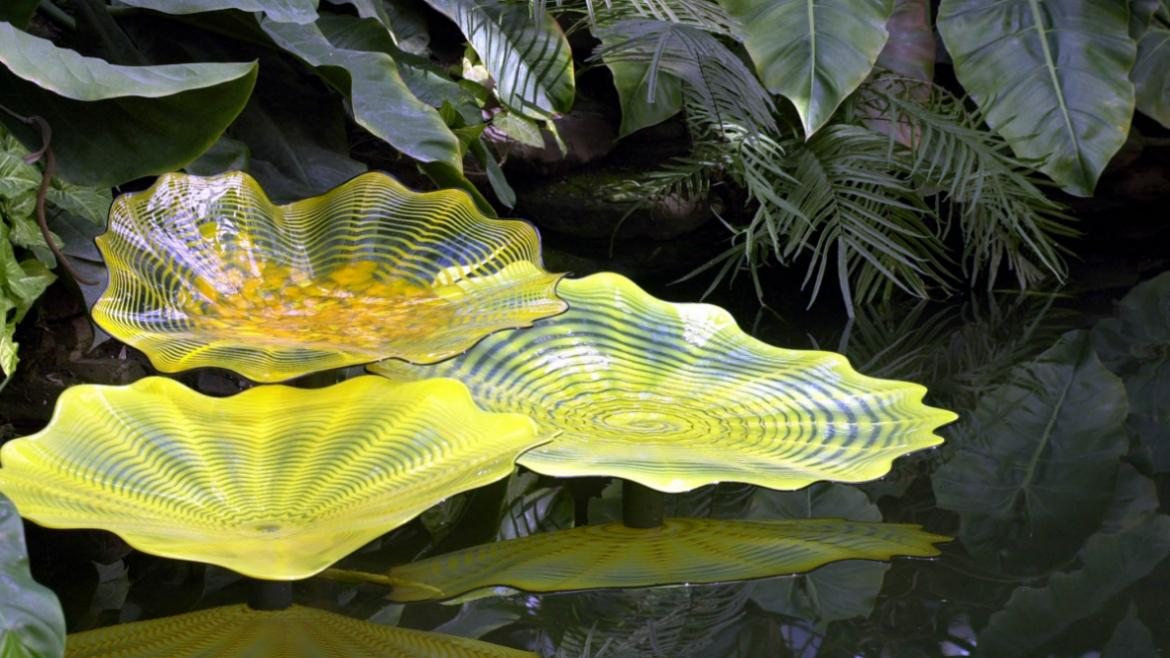 This close up view of the Yellow Lilies reveals that each of the glass artworks is unique.