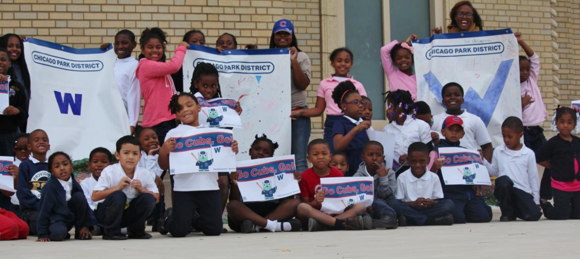 Kiddies at Garfield, celebrating the Cubs!