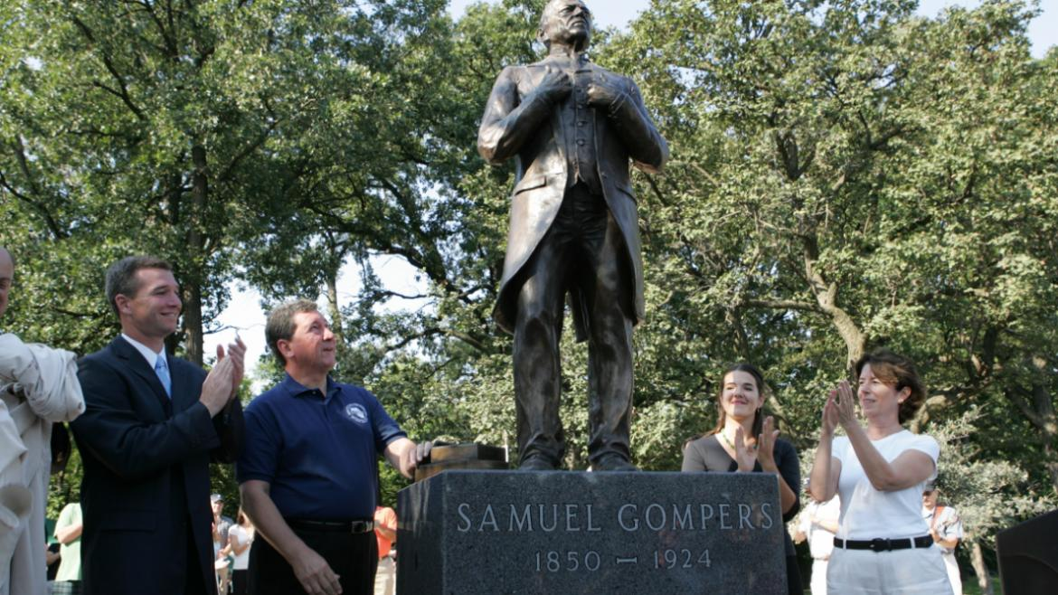 This photograph of the Samuel Gompers Monument was taken during its dedication ceremonies, 2007.