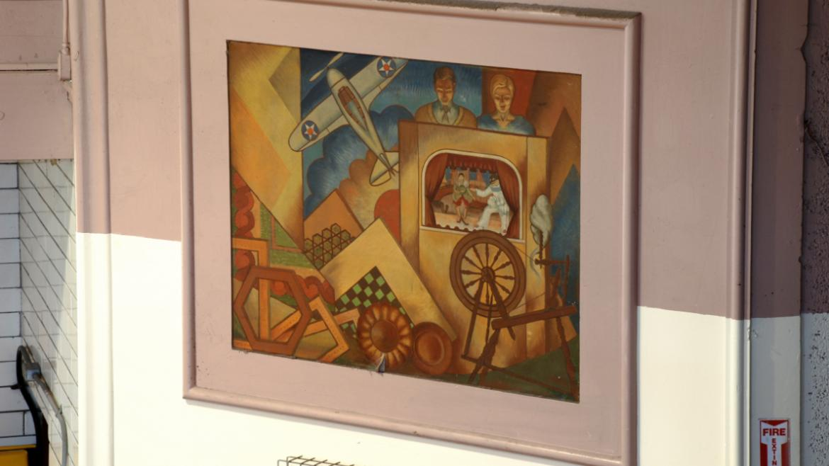 This lower square mural depicts many items associated with arts and crafts in the parks, 2012.