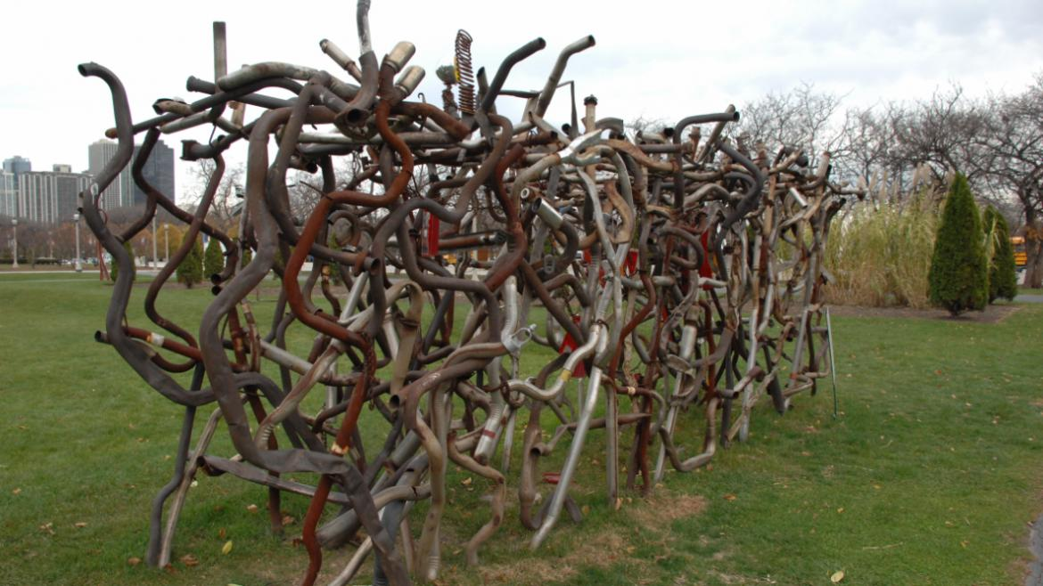 Lucy Slivinski's Hedgerow is made from tailpipes, mufflers, and other auto parts, 2008.