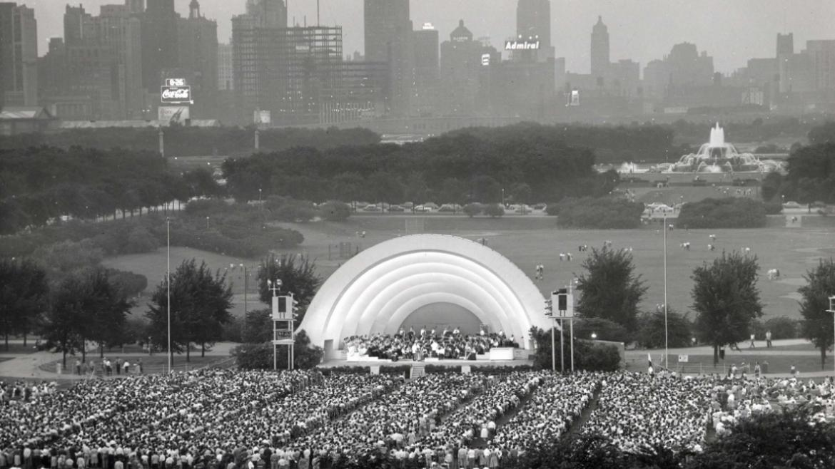 This view shows the fountain and Chicago's skyline in the background with Grant Park's old bandshell