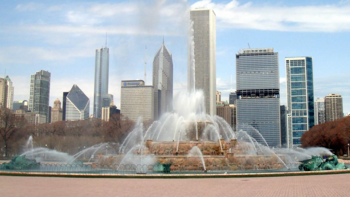 In 2008, the Chicago Park District installed permeable pavers along the fountain table, 2010.