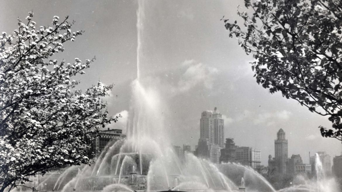 This photograph of Grant Park during Chicago's Blossomtime Festival shows the pumphouse at the south