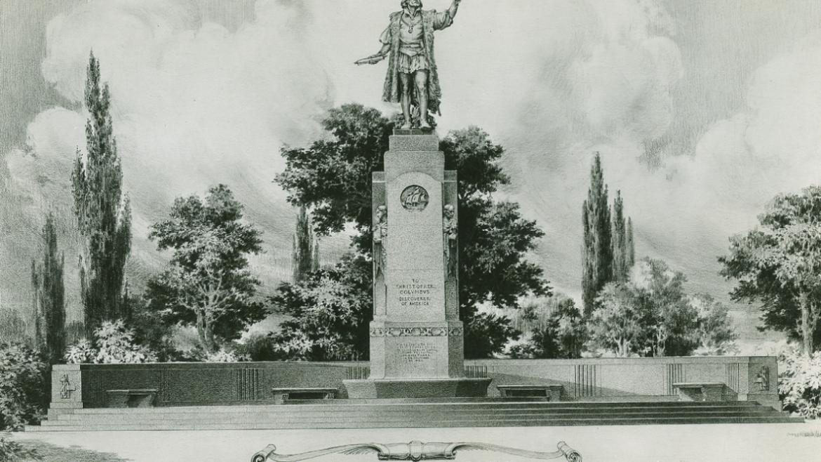 This rendering shows the bronze figure of Columbus on its highly detailed pedestal.